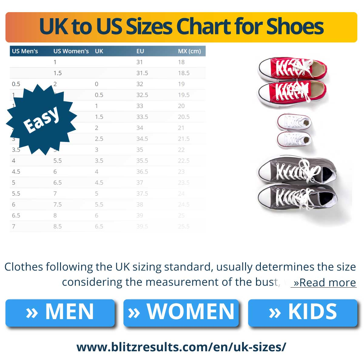 UK to US Sizes Chart for Shoes