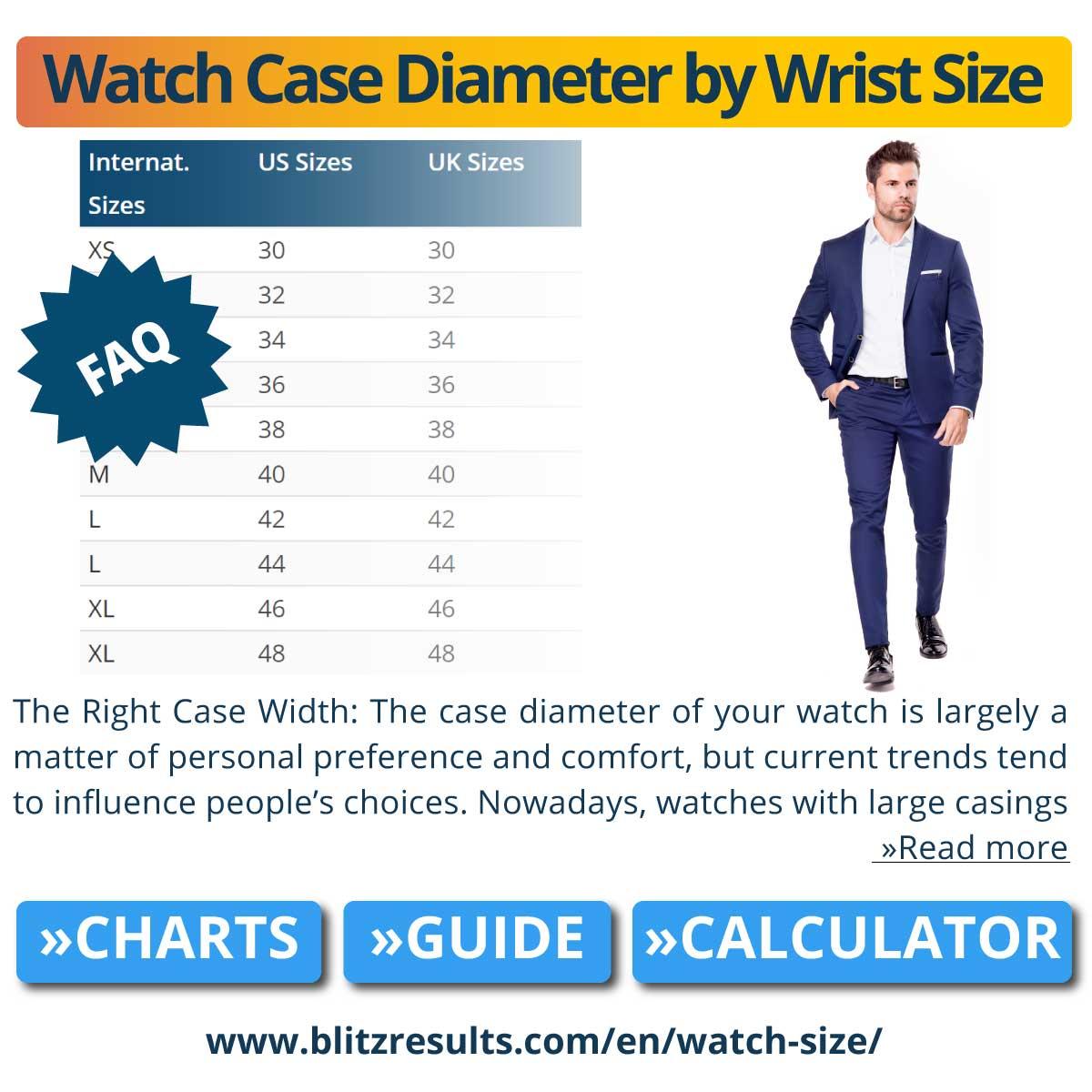 Watch Case Diameter by Wrist Size