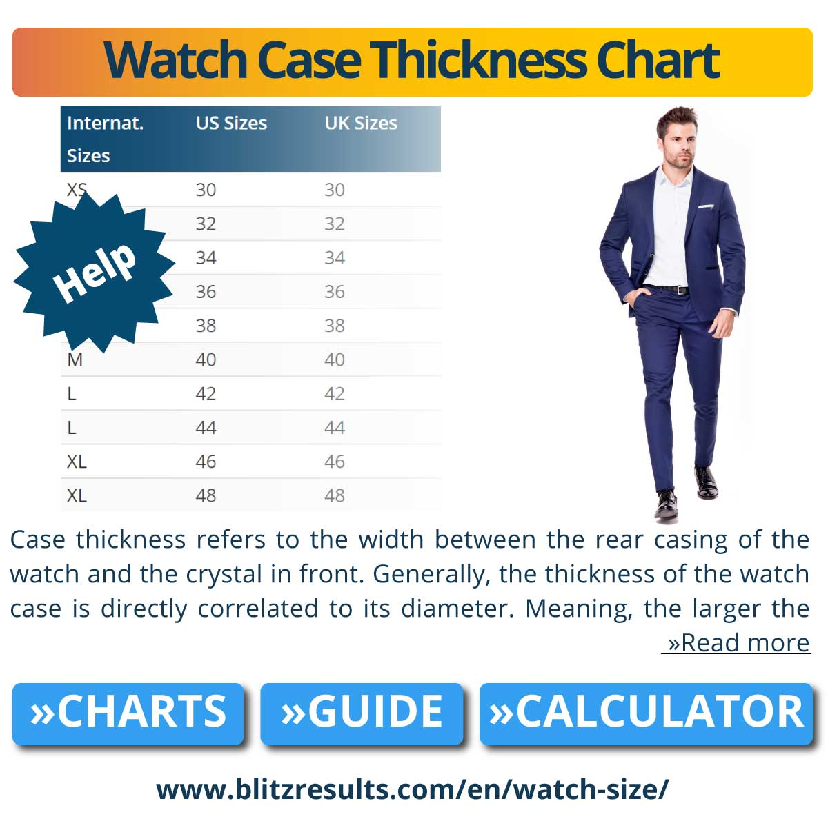 Watch Case Thickness Chart