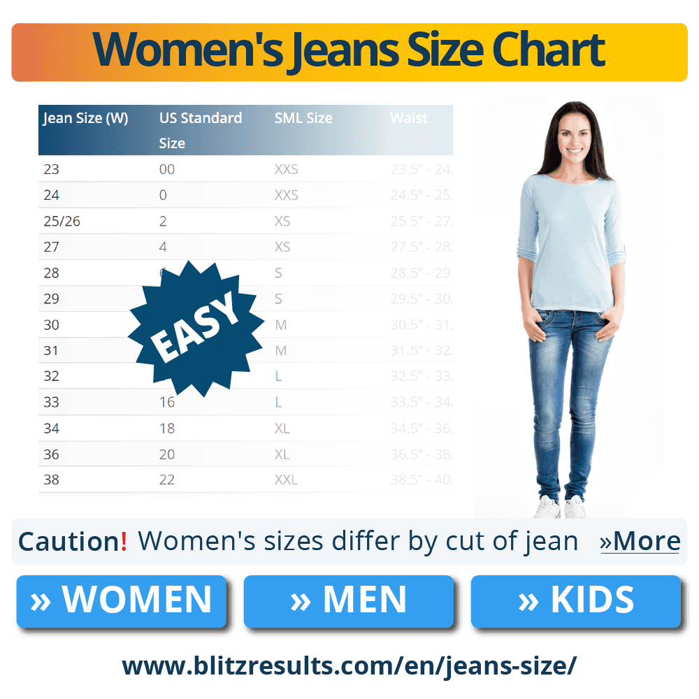 20 Jean Size Chart & Converter   Width + Length   How to ☆