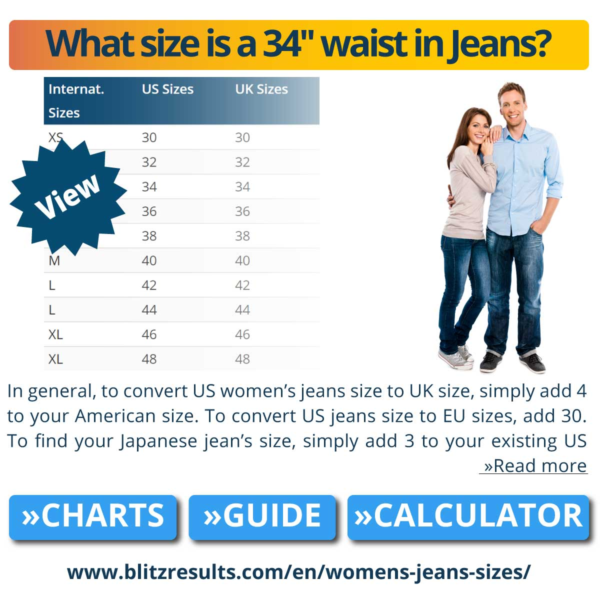 What size is a 34'' waist in Jeans?